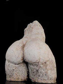 Sculpture, White, Buttocks, Bum, Art, Clay