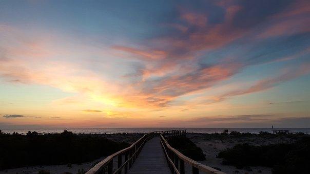 Dawn, Gateway, Landscape, Water, Wood, Beach