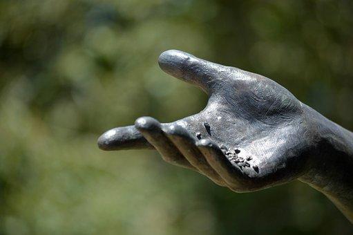 Statue, Hand, Sculpture, Birdseed, Bronze