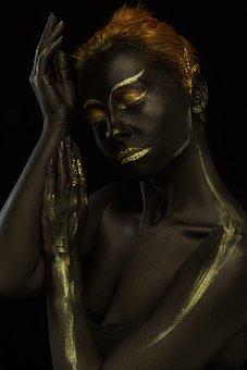 Makeup, Body Painting, Portrait, Girl, Model, Gold