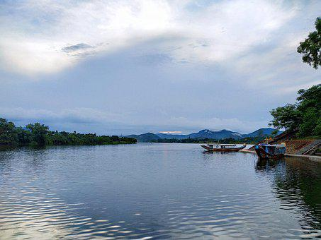 River, Sky, Cloud, Riverside, Vietnam, White, Black