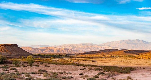 Morocco, Landscape, Hill, Sky, Drought, Desert, Sand