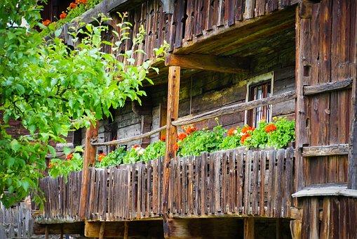 Wood, Barn, Gerani, Flowers, Farmer, Rustico, Old