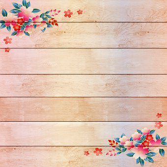 Wood With Flowers, Floral Wood Background, White Wood