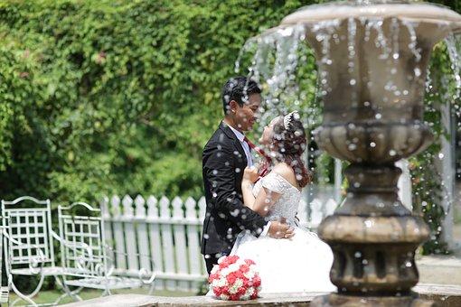Couple, Wedding, Marriage, Fountain, Water, Garden