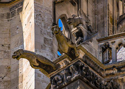 Dragons, Gargoyle, Mythical Creatures, Figure, Amiens