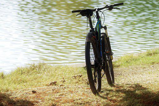 Bike, Parked, The Bank, The Lake, Water, Grass, Nature