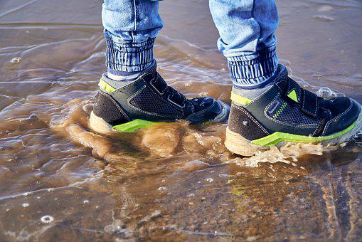 Shoes, Water, Ice, Puddle, Frozen, Child, Small, Feet