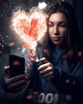 Girl, Like, Heart, Fire, Burns, Ignites, Portrait