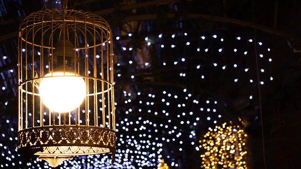 Illumination, Light In Cage, Night, City, Winter
