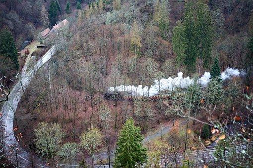 Resin, Forest, Nature, Highlands, Steam Locomotive