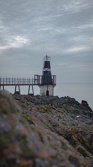 Portishead, Lighthouse, Rocks, Sea, Water, Ocean