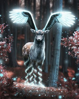 Deer, Nature, Wings, Photoshop, Art, In The Forest