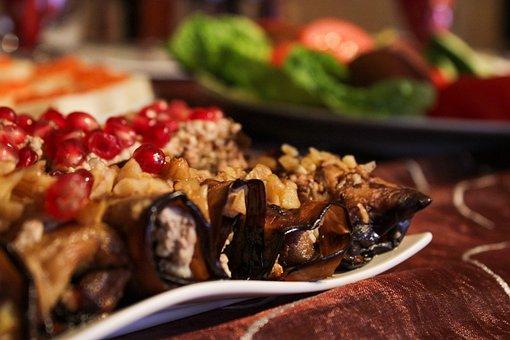 Pomegranate, Walnut, Salad, Pickled, Fruit, Healthy