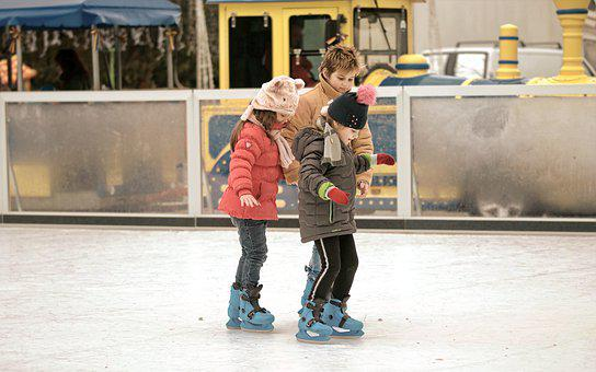 Kids, Small, Skates, Skating, The Rink, Ice, Winter