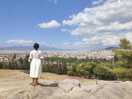 Girl, Woman, Sky, Athens, Greece, Scenery, City View