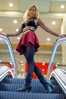 Girl, Escalator, Stage, Skirt, Supermarket, Model