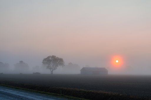 Sunrise, Fog, Summer, Morning, Haze, Sky, Countryside