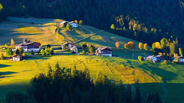 Dusk, Grassland, Woods, Landscape, Village