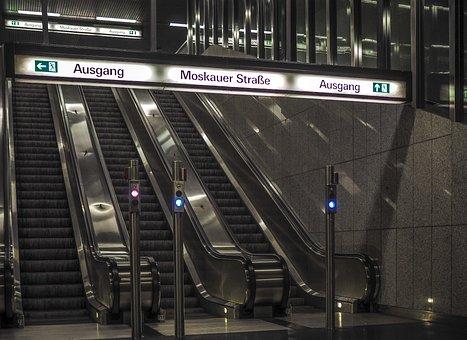 Escalator, Metro, Stairs, Railway Station, Architecture