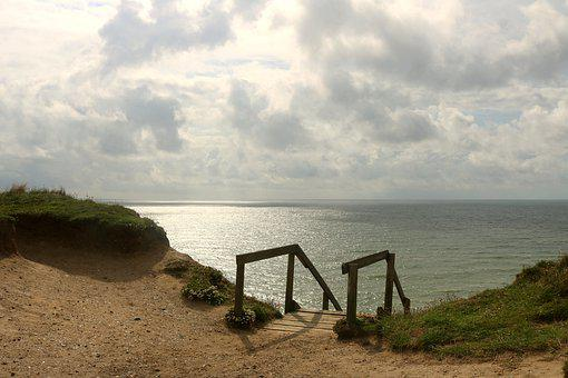 Denmark, Sea, Stairs, Beach, Sky, Water, Summer, Nature