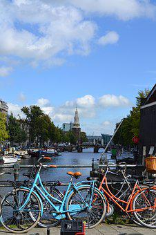 Amsterdam, Bikes, Canal, Netherlands, Bicycle, Europe