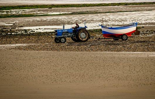 Tractor, Boat, Sea, Fishing, Beach, Tractor Trailer