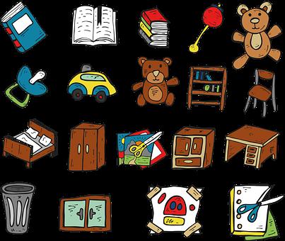 Book, Teddy Bear, Toys, A Cabinet, Table, Basket, Car