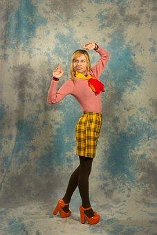 Bow, Turtleneck, Skirt, Tights, Scarf, Fashion, Girl