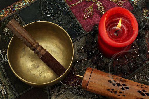 Singing Bowl, Incense, Candle, Buddhist