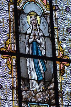 Stained Glass, Window, Church, Woman, Sainte, Mary