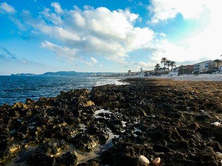 Javea, Costa, Sea, Landscape, Sky, Clouds, Blue