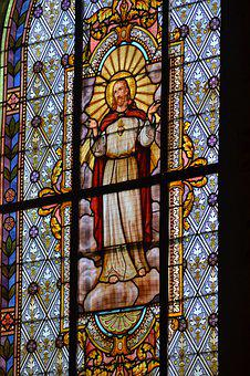 Stained Glass, Window, Church, Colorful, Man, Jesus