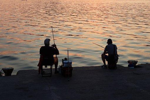 Sea, Fisherman, Sunset, Fishing Line, Summer, Vacation