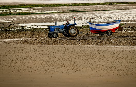 Tractor, Boat, Sea, Fishing, Beach, Tractor Trailer