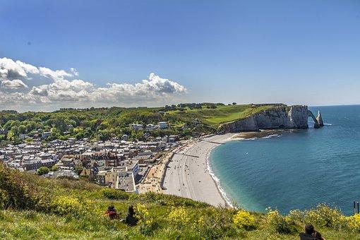 étretat, Normandy, France, Sea, Landscape, Beach, Cliff