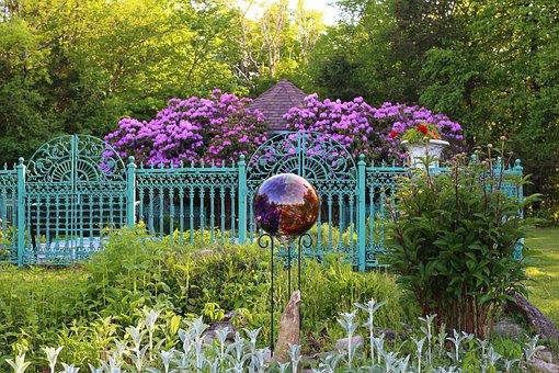 Cottage Garden, Garden, Rhododendron, Gazing Ball