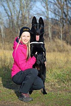 Friendship, Black Dog, German Shepherd, Love, Hug