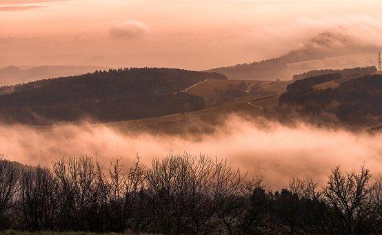 Landscape, Mountains, Fog, Haze, Clouds, Hill, Autumn
