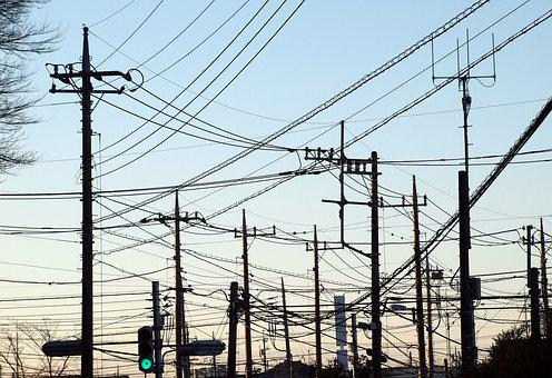 Landscape, Town, Pole, Electric Cable, Signal Lights