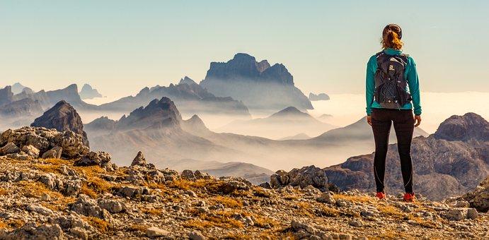 Woman, Person, Girl, Landscape, Mountain, Fog, Mist
