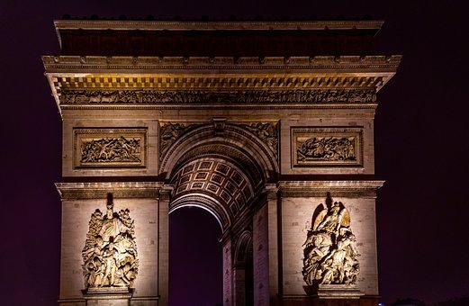 Triumphal Arch, Paris, Architecture, Monument, Europe