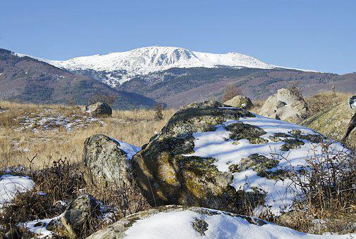Snow, Rocks, Moss, Mountain, Landscape