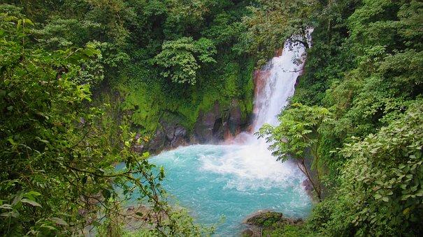 Waterfall, Rio Celeste, Costa Rica, Water, Nature