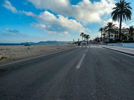Javea, Road, Costa, Sea, Landscape, Sky, Clouds, Blue