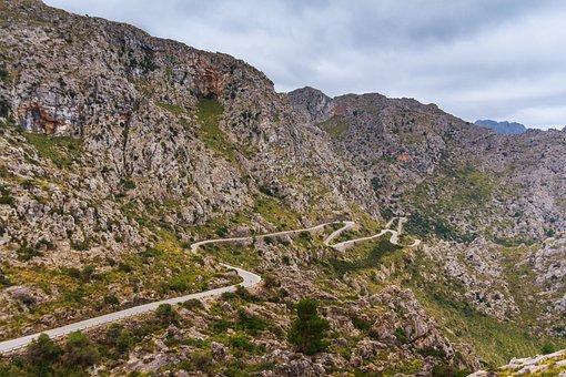 Spain, Mountains, Serpentine Road, Dangerous, Steinig