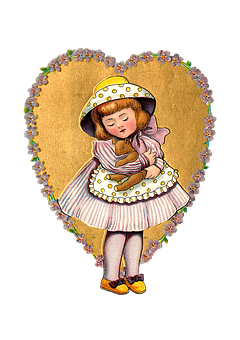 Heart, Girl, Vintage, Decoupage, Sticker, Etiquette