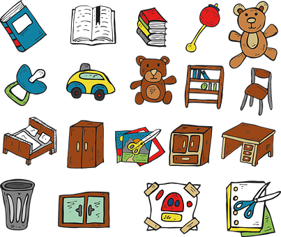 Book, Teddy Bear, Toys, A Cabinet