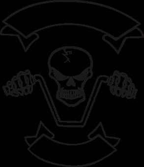 Motorcyclist, Skull, Skeleton, Banner, The Head Of The