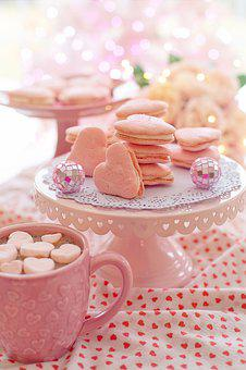 Valentine's Day, Treats, Sweets, Macarons, Pink, Hearts
